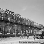 Bomb damaged building after the landings on Ramree Island