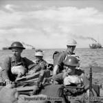 British troops in a landing craft make their way ashore on Ramree Island