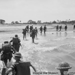 The first wave of assault troops land at Ramree Island