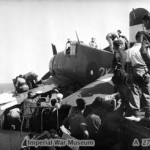 A crashed Grumman Hellcat of 804 Squadron